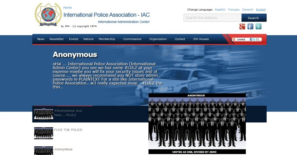 International+Police+Association+website+defaced+by+Anonymous+Hackers